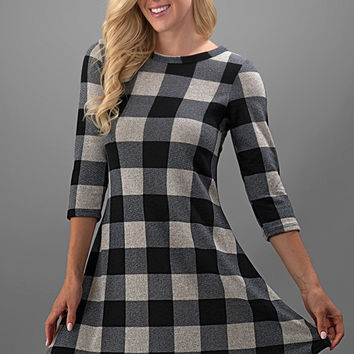 Pretty in Plaid Dress - Black