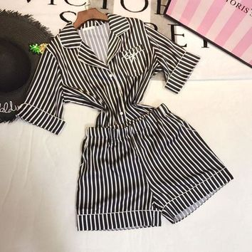 ICIKJL0 Victoria's Secret Women Silk Satin Stripe Robe Sleepwear Loungewear Set Two-Piece
