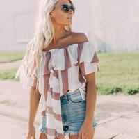 willow & root Striped Ruffle Top - Women's Shirts/Blouses in White Mauve | Buckle