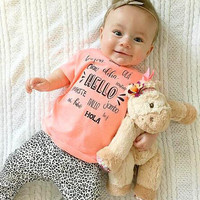 2016 new summer baby girl clothes cotton short sleeve letter t-shirt+pants kids 2pcs suit baby clothing sets infant outfits
