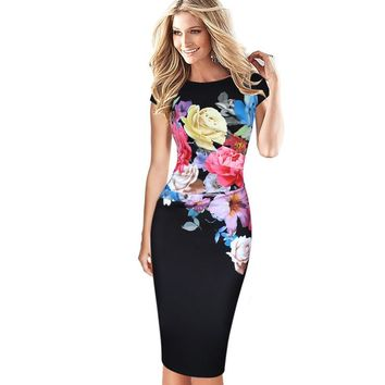 Womens Elegant Flower Floral Printed Ruched Cap Sleeve Ruffle Casual bridesmaid Mother of Bride Evening Party Dress 236