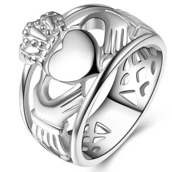 Size 7-14 Stainless Steel Irish Heat Claddagh Ring