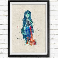 Vampire Queen Watercolor Print, Adventure Time Baby Girl Nursery Decor, Wall Art, Home Decor, Gift Idea, Not Framed, Buy 2 Get 1 Free!