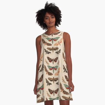 'Vintage Natural History Moths' A-Line Dress by bluespecsstudio