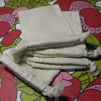 10 Pack Drawstring 5X8 Inch Natural Muslin Bags great for Gift Wrapping, Reusable Tea bags, or Sachets