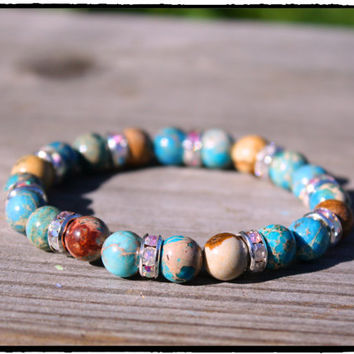 Aqua Sea Sediment and Picture Jasper Gemstones with Aurora Borealis Silver Plated Rondelles, Boho Beach Hippie Yoga Chic Stretch Bracelet