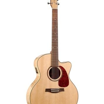 Seagull Performer Cutaway Mini Jumbo Flame Maple QI Acoustic-Electric Guitar Natural