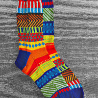 Hand Knit Wool Reversed Socks, Men, Women, Unique Icelandic Original Design, Wearable Art  - Made To Order
