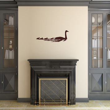 Vinyl Wall Decal Ducks Swimming in a Row - Mama Ducks - Baby Ducks  22415