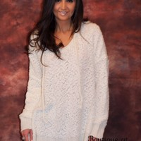 Popcorn Hoodie Sweater with Drawstring in Ivory