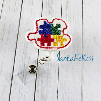 Autism Awareness Badge Holder with Retractable Badge Reel. Designer  Badge Holder for Office Worker / Teacher/ Coworker / Nurse