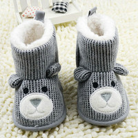 Cute Unisex Baby Knit Boots Infant Toddler Bear Booties Fleece Boots Crib Shoes 0-18M