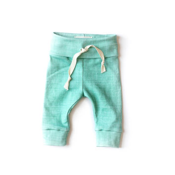 Organic Drawstring Leggings in Teal Linen