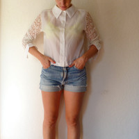 Vintage Lace Blouse White Long Sleeves Button Up Collared Shirt