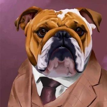 English Bulldog dressed for a night out print by rubenacker