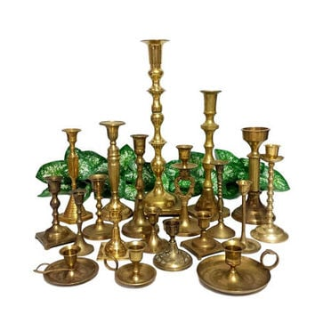 20 Brass Candle Holder Chamberstick Mixed Lot Table Wedding Centerpiece Decor Aged Gold Patina Shabby Cottage Chic Farmhouse Lighting Bulk