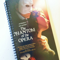 PHANTOM of the OPERA spiral BOOKLET Notebook Journal upcycled notebook Recyled Earth Friendly Made from an actual Vhs movie cover