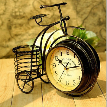 Creative Iron Bicyclex Pastoral Style Double Sided Quiet Home Living Room Small Size Clock [6282679878]