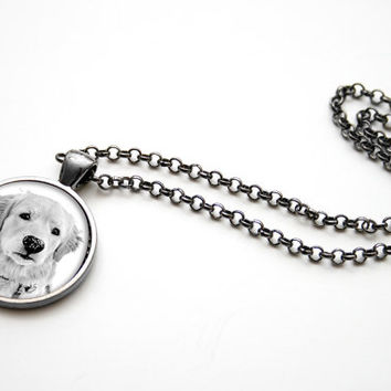 Custom Pet Portrait Photo Necklace Memorial,Picture Memorial Necklace Jewelry,Dog Owner Gift Mothers Day - PN002