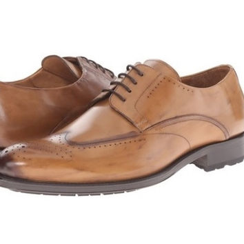 Mezlan Men's Tan Leather Burnished Toe Oxfords