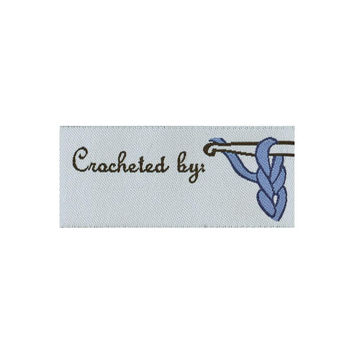 Crocheted by 2/pkg, premade labels for sewing, quilting and crafts, woven labels