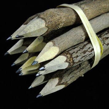 "Multipack 5"" Lead Twig Pencils Tree Branch Stick natural wood pencil pen novelty item for parties, weddings, etc."
