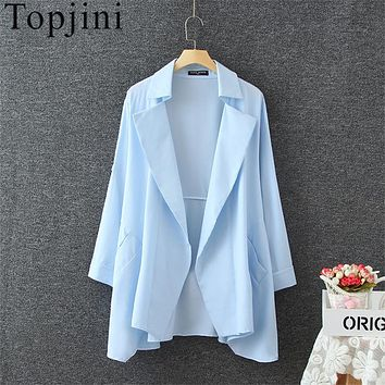 Topjini Trench Coat 2017 Spring Women Coats Turn-Down Collar Long Sleeve Asymmetric Length Trench Open Stitch Medium Long Coats