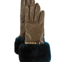 Valentino Rockstud Leather Gloves with Fur Cuffs