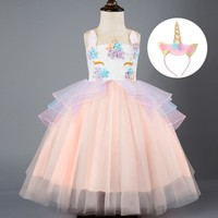 Girls Halloween Unicorn Sets Girls 3 4 5 6 7 8 Years Halloween Clothes Children Role-Play Party Dresses Birthday Party Dresses