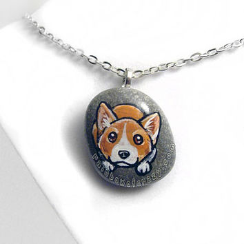 Corgi Necklace, Dog Portrait Pendant, Hand Painted Jewelry, Pet Gift, Beach Stone Accessory, Pet Memorial