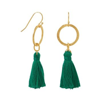 Gold Tone Green Threaded Tassel Fashion Earrings