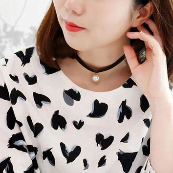 N658 Simulated Pearls Pendant Chokers Necklaces Clavicle Women 90's Girl Ribbon Collares Fashion Jewelry Gothic Bijoux Colar