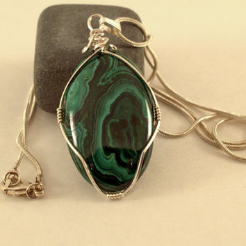 Natural mineral Malachite stone sterling silver wire wrapped oval pendant with a silver plated snake chain necklace