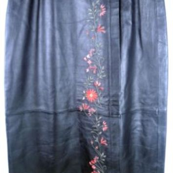 DIALOGUE SOLID BLACK GENUINE LEATHER SKIRT Embroidered Floral Women Sz 8 New Tag