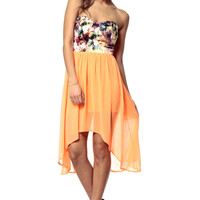 Floral High Low Chiffon Dress