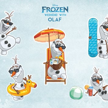 Frozen Disney Clip Art Printables - Weekend With Olaf Hand Drawn Clip Art Pack - 5 High Quality Transparent Unique Designed Olaf Cliparts.