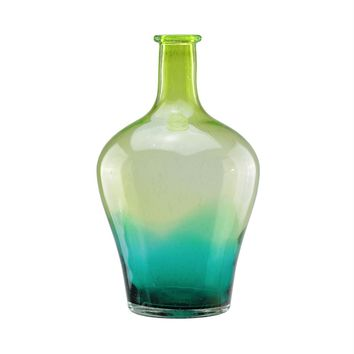 "15.5"" Chartreuse Green and Teal Blue Ombre Hand Blown Bubble Glass Vase"