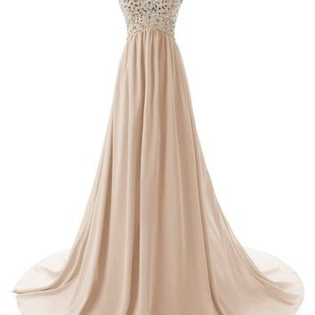 Dressystar Sweetheart Beading Chiffon Prom Dress Long Evening Party Gowns Size 2 Ivory