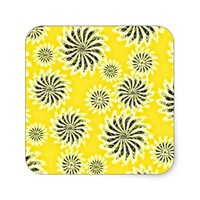 Spinning stars energetic pattern yellow square sticker