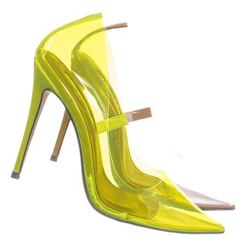 Kimye1 Lucite Clear High Heel Dress Pump - Women Neon Pointed Toe Stiletto