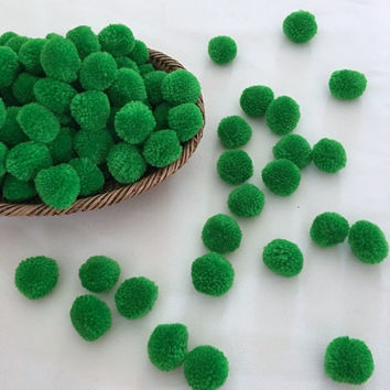 50 Green Grass Pom Pom,1 inch Hmong hill tribe decoration cotton yarn pom pom