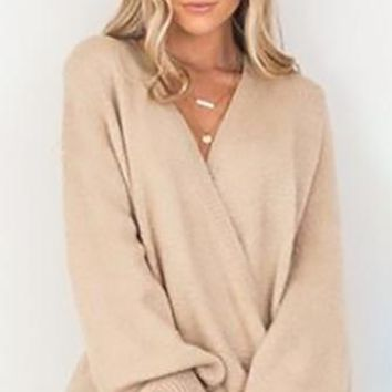 Heir Apparent Beige Long Lantern Sleeve Cross Wrap V Neck Loose Pullover Sweater - Back in Stock!
