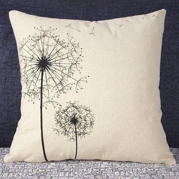 Classical Dandelion Pattern Decorative Pillowcase(Without Pillow Inner)