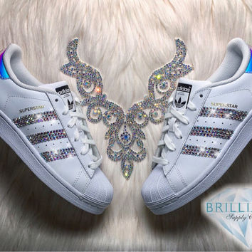20ef9b46f3e37 Adidas Superstar Womens/Girls Shoes White Metallic Stripes Customized with  AB Swarovski Crystals Brand New in Box Authentic Adidas Superstar