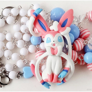 Pokemon Sylveon Necklace, Baby Blue and Pastel Pink, Very Long, Rosary Chain - Anime, Gamer Jewelry