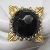 CLEARANCE-BLACK BEAUTY-Ring Designed With Vintage Upcycled Jewelry, Was 12.00, Now 10.00