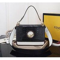 FENDI WOMEN'S CROCODILE LEATHER HANDBAG INCLINED SHOULDER BAG