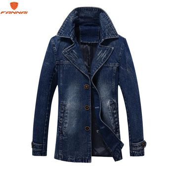 2018 jaqueta masculina Retro Denim jacket men Spring Turn-Down Collar jacket men's classic outwear jean jackets coat plus size