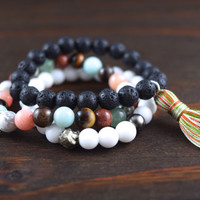 Triple Stack Beaded Bracelets - Lotus and Lava Bracelets - Women's Yoga Gift - Boho Indie Jewelry - Bracelets With Meaning - Precious Stones