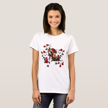 Leopard High Heel Shoes Red Roses Fashion Art T-Shirt